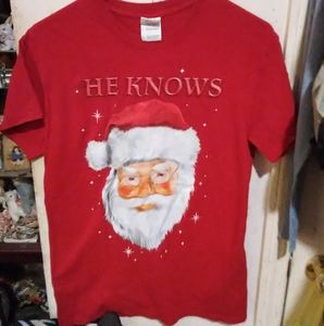 "Santa Claus t-shirt EUC ""he knows"" adult S"